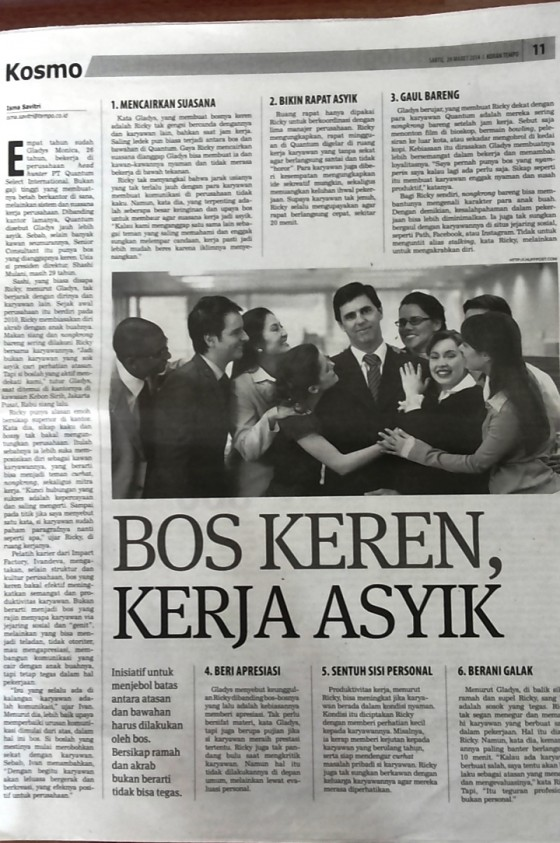 Koran Tempo – Kosmo Article